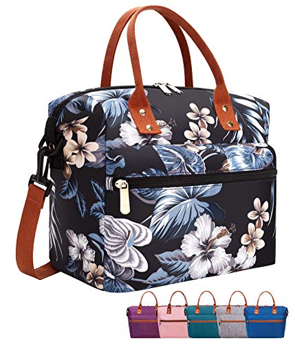 Leakproof Insulated Lunch Tote Bag with Adjustable & Removable Shoulder Strap, Durable Reusable lunch Box Container for Women/Men/Kids/Picnic/Work/School-Black Lily