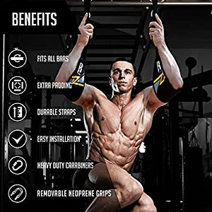 RIMSports Ab Straps for Pull Up Bar Pull Up Straps & Hanging Ab Straps for Core Workouts Ideal Hanging Straps & Ab Hancer for Gym Abs Workout Equipment