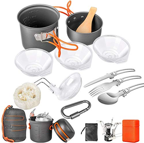 Limechoes Camping Cookware Set 16 Pcs, Camping Pots and Pans Set Non-Stick, Mess Kit Stove Canister Stand Backpacking Camping Cooking Set for Outdoor Hiking Picnic with Folding Knife and Fork Kit.
