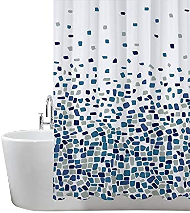 ANSIO Shower Curtain Mould and Mildew Resistant 180 x 180 cm (71 x 71 Inch) | 100% Polyester - Mosaic Patterned - Blue