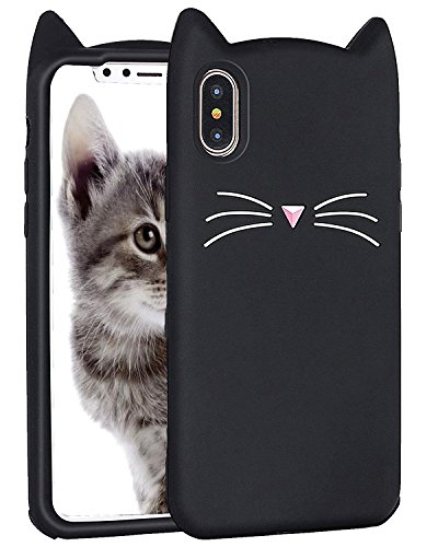 Miniko iPhone X Case, (TM) Fashion Cute Kawaii Funny 3D Black Meow Party Cat Kitty Whiskers Dropproof Protective Soft Rubber Case Skin for Apple iPhone X 2017