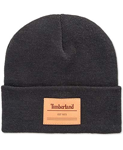 Timberland Men's Cuff Beanie with Leather Logo Patch, Dark Grey, One Size