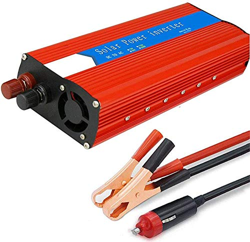 NBQABN Wechselrichter 3000W (Peak 6000W), Reiner Sinus Wechselrichter, DC 12V / 24V Auf AC 110V / 230V Spannungswandler, Autoladeadapter Mit USB Anschluss,12vTo110v