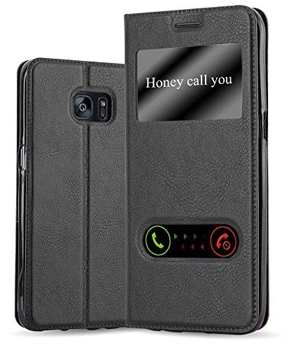 Cadorabo Hülle für Samsung Galaxy S7 Edge - Hülle in KOMETEN SCHWARZ – Handyhülle im Standfunktion und 2 Fenstern (View Design) - Case Cover Schutzhülle Etui Tasche Book Klapp Style