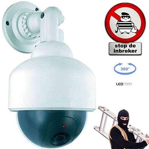 Videocamera di Sicurezza Dummy Camera Fittizia con Led Luminoso e Rotazione a 360 Gradi Dispositivo Deterrente Anti Intrusione