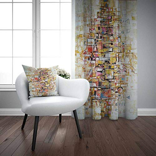 Andere abstracte kubus geel bruin oranje rood 3D druk woonkamer slaapkamer raam gordijn combinatie geschenk kussensloop Ancho140xAlto215cm