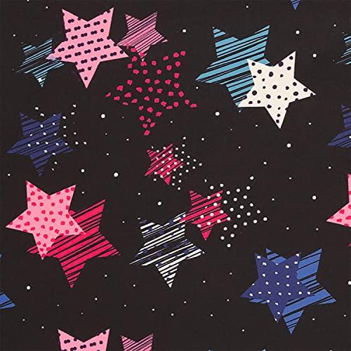 Softshell Stoff bunte Sterne, wind- und wasserabweisend, schwarz/rosa (50cm x 145cm)