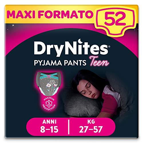 Huggies Drynites Mutandine Assorbenti per la Notte per Bambina, 27-57 Kg, Confezione da 52 Pezzi (4 x 13)