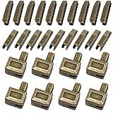 ByaHoGa 20 Paare 5mm Zinklegierungs Reißverschluss Oben auf dem Plug and Reparatur Reißverschlussstopper, Reparaturzubehör Einsatzkasten und Pin Fix Halter (Bronzefarbene)