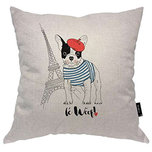 Beabes Bulldog Throw Pillowcase Eiffel Tower Cute French Bulldog Dressed Up French Chic Cloth Red Hat Square Throw Pillow Covers for Men Women Boys Girls Home Decor Cotton Linen 20x20 Inch