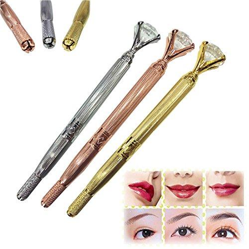 Manual Tattoo Eyebrow Pen For Semi Permanent Makeup Supplies with Crystal Diamond,Makeup Eyebrow Microblading Pencil,With Lock-Pin Tech & Ergonomic Grip -Shape Brows Fuller & Lush, 3PCS