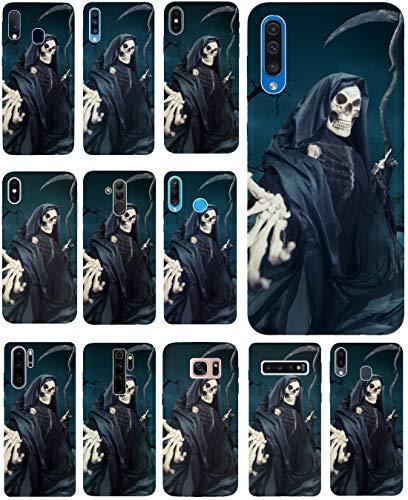 KUMO Hülle für Lenovo K5 Handyhülle Design 1332 Sensenmann Totenkopf Skull Bones aus flexiblem Silikon SchutzHülle Softcase HandyCover Hülle für Lenovo K5