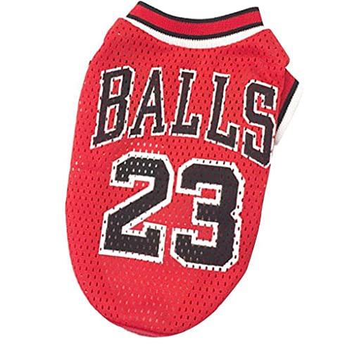 Liadance Ropa de Perro Baloncesto Uniforme de Malla Camiseta Transpirable T-Shirt Perros Disfraz de Baloncesto Fans para Perros de Mascotas Gatos Red S