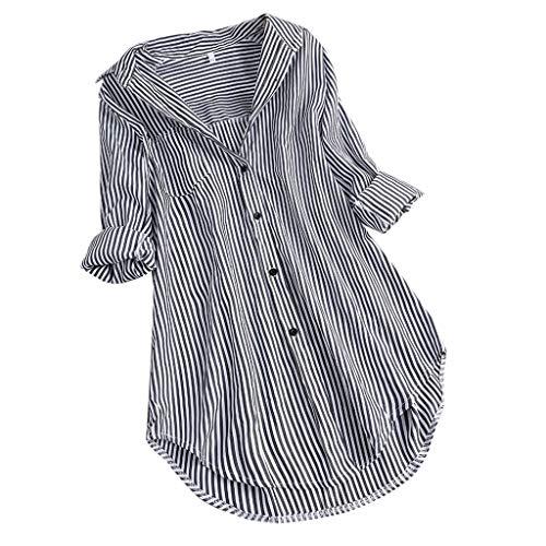 LOPILY Gestreifte Bluse Damen Verstellbare Ärmel Shirts aus Baumwolle V-Ausschnitt Oberteile Freizeit Tunika für Mollige Arbeitsbluse 46 Lässige Lose Tshirts Long Shirts Damen Herbst (Schwarz, 44)