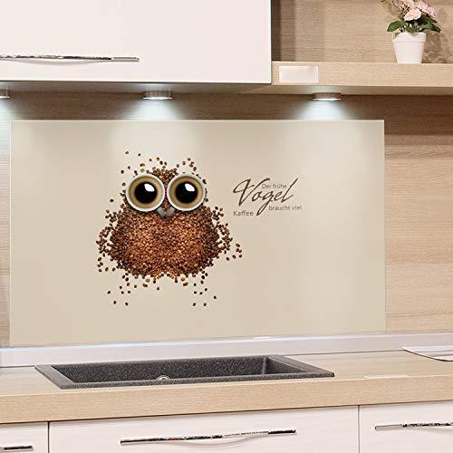 GRAZDesign Küchenrückwand Küche Glas-Bild Spritzschutz Herd braun Hellbraun Bildmotiv Der frühe Vogel braucht viel Kaffee / 60x60cm