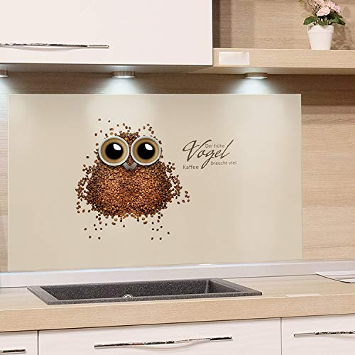 GRAZDesign Küchen -Rückwand Küche Glas-Bild Spritzschutz Herd braun Hellbraun Bildmotiv Der frühe Vogel braucht viel Kaffee / 80x60cm