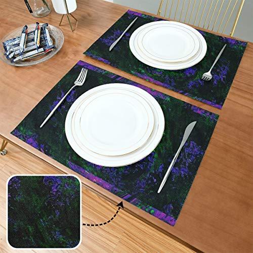Generies Tapis de Table de Cuisine Cadre Couleur Abstraite Art Creative 12x18 Pouce Tasse À Café Tapis De Cuisine Ensemble De 6 Double Tissu Impression Coton Lin pour Table De Cuisine