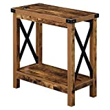 Convenience Concepts Durango Chairside Table with Charging Station, Barnwood/Black