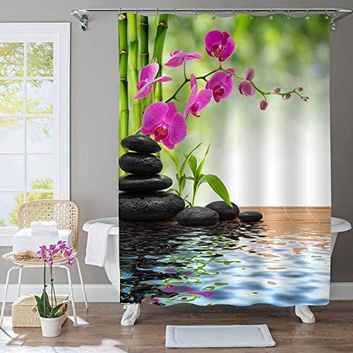 Élégant rideau de douche de jardin japonais pour spa thérapeutique, ensemble d'accessoires de salle de bain en pierres de basalte noir orchidée zen asiatique bambou violet, calme votre esprit, vert