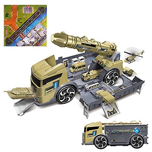 deAO Kit 2-in-1 per Camion da Trasporto Militare e Garage con Rampe, Veicoli e Accessori Inclusi