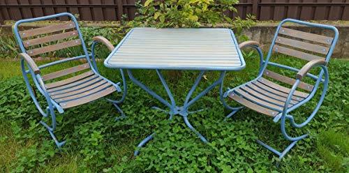 Casa Padrino Jugendstil Gartenmöbel Set Vintage Hellblau/Braun - Handgefertigtes 3 Teiliges Gartenset mit Tisch und 2 Stühlen
