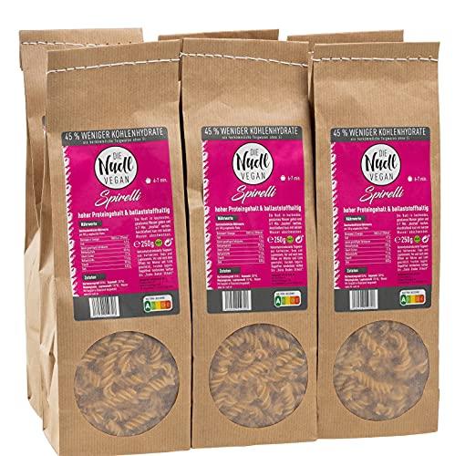 DIE vegane Nudl   Spirelli Pasta   Low Carb Nudeln   6x 250gr Packung   ballaststoffhaltige & proteinhaltige vegane Nudeln   Nudeln ohne Ei   vegane Ernährung   45{70c2cbbccb680bb43c564946e2389de8bf1bf74f49a7effad3d3895f4ae3ffa1} weniger Kohlenhydrate mehr Eiweiß