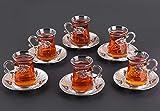 LaModaHome Juego de 6 vasos de té árabe turco con soportes y platillos de color plateado – Juego de regalo vintage hecho a mano