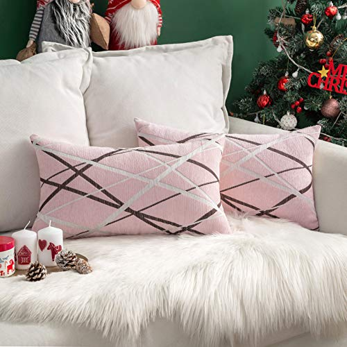 MIULEE Throw Pillow Case Chocolate Ice Cream Line Decorative Square Pillowcases for Couch Livingroom Sofa Bed with Invisible Zipper 30cm x 50cm 12x20 Inches 2 Pieces Pink
