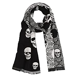 Landisun Skull Scarf Shawl Soft Long Elegant Classical Tassels (Black White)