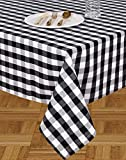Urban Villa - Buffalo Check - Black/White Color - Table Cloth - 100% Cotton - Size 60 by 84 Inches - Seats 6 to 8 People - Perfect for Everyday Use or Family Dinners or Indoor or Outdoor Parties