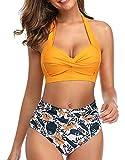 Tuopuda Costume da Bagno Due Pezzi Triangolo Brasiliana Bikini Donna Sexy Halter Regolabile Costumi da Piscina Push Up Imbottito Reggiseno Spiaggia Vita Alta Fondo Bikini Beachwear Swimwear