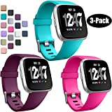 Wepro Bands Compatible with Fitbit Versa/Fitbit Versa 2/Fitbit Versa Lite SE SmartWatch for Women Men, Sports Replacement Wristband Strap for Fitbit Versa Watch, Small, 3Pack, Teal, Peach, Periwinkle
