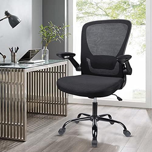 Komene Bürostuhl, Ergonomischer Schreibtischstuhl 360° Drehstuhl Arbeitsstuhl mit Klappbaren Armlehnen und Verstellbare Lendenstütze, Chefsessel Netz Stuhl Mesh Computerstuhl Stuhl Schwarz