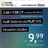 handyvertrag.de LTE All 5 GB + 5 GB - monatlich kündbar (Flat Internet 10 GB LTE mit max. 50 MBit/s mit deaktivierbarer Datenautomatik, Flat Telefonie, Flat SMS und EU-Ausland, 9,99 Euro/Monat)