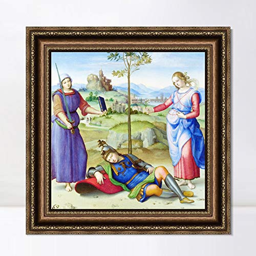 """INVIN ART Framed Canvas Art Giclee Print an Allegory ('Vision of a Knight') 1504 by Raphael/Raffaello Sanzio Wall Art Living Room Home Office Decorations(Vintage Embossed Gold Frame,24""""x24"""")"""