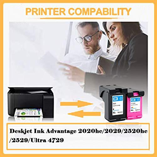 PPKH Cartucho de Tinta 46xl para HP DeskJet Ink Advantage 2020HC 2029 2520HC 2529 Ultra 4729 Impresora, Cartuchos de Tinta de reemplazo de Alto Rendimiento Negro y Tri-co Black