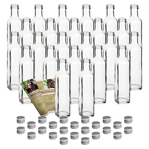 gouveo 24er Set Flasche Maraska 250 ml inkl. Schraubverschluss Silber, Likörflaschen, Schnapsflaschen, Essigflaschen, Ölflaschen