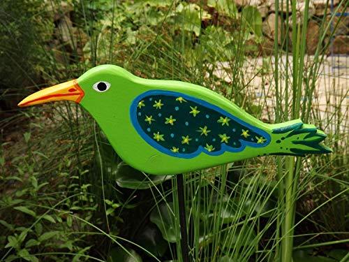 Gartenstecker Vogel Handgefertigt und Handbemalt mit Grünen Mustern aus wetterfest lackiertem Leimholz FSC- zertifizierte Fichte