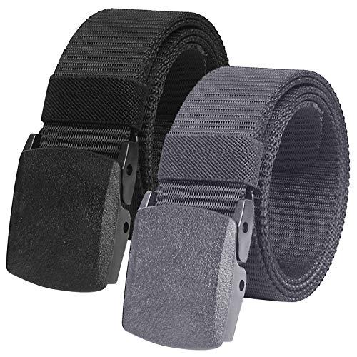 2 Piezas Cinturón Táctico Militar Ajustable Cintura Hombres Lona Nylon Hebilla Plástica (Gris topo + Negro)