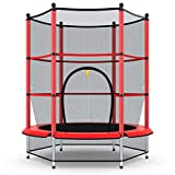 Giantex 55' Kids Trampoline, with Safety Enclosure Net & Spring Pad, Bulit-in Zipper Heavy Duty Steel Frame, Outdoor Indoor Mini Trampolines for Kids