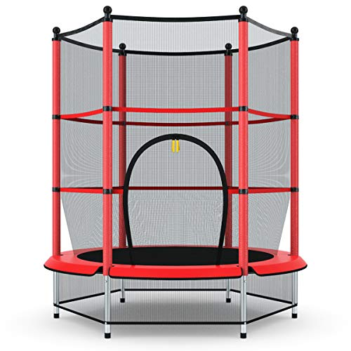 "Giantex 55"" Round Kids Mini Jumping Trampoline W/Safety Pad Enclosure Combo (Red)"