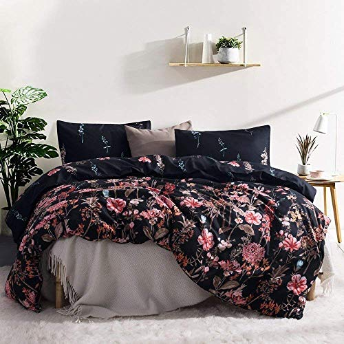 Leadtimes Black Duvet Cover Cute Queen Duvet Cover Set Flower Bedding Sets with 90X90 Duvet Cover and 2 Pillowcases(Queen, Style8)