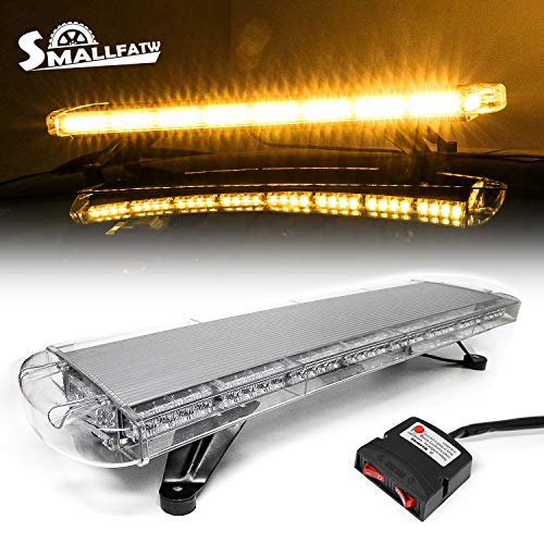 SMALLFATW Rooftop Led Strobe Light Bar Emergency Warning Lights 38 Inch High Intensity Low Power Consumption Car Truck Snow Plows Upgrade Flash Light Bar with Strong Mount Base (Amber)