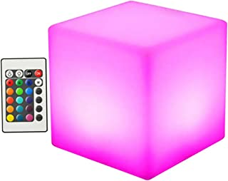 OSALADI LED Cube Light with Remote Control Cordless LED Cube Colors Dimming Cube Rechargeable Cool Stools Glow Square Lamp...