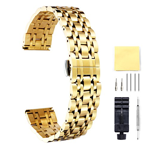 BINLUN - Correa de reloj en acero inoxidable en 6 colores (oro, plata, negro, oro rosa, tono dorado, tono oro rosa), 17 tamaños (10 mm – 26 mm)