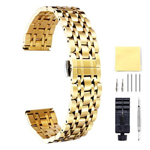 BINLUN Damen Edelstahl Uhrenarmbänder Gold 12mm BL0001B-GG12