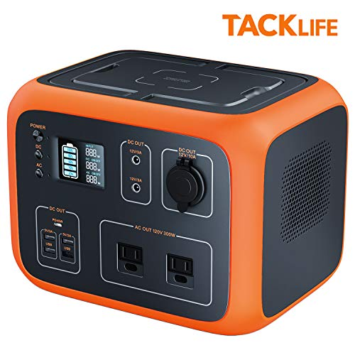 TACKLIFE P50 500Wh Portable Power Station with Wireless Charging Plate, LED Light, 110V/300W Outdoor Solar Generator for Home Backup Power Supply Categories