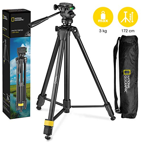 National Geographic Photo Statief Kit met Monopod, Draagtas, 3-weg kop, Quick Release, 3-delige benen Hever Locks, Geared Centre Column, Lading up 3kg, Aluminium, voor Canon, Nikon, Sony, NGHP004