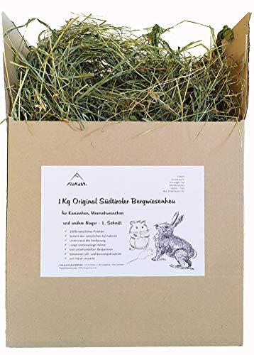 Floka69® Original Südtiroler Heu 1kg für Kaninchen Meerschweinchen Hamster und andere Nager I Wiesenheu I Bergwiesenheu für Kleintiere