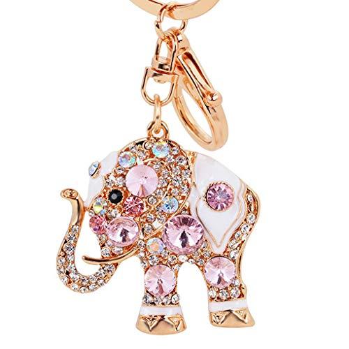 Boburyl Muchacha de Las Mujeres Elegantes de la Manera del Elefante del Rhinestone Llavero Llavero del Coche Monedero del Bolso Accesorios